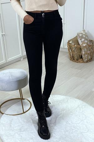 Jeans slim noir avec poches et 2 boutons
