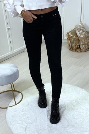 Jeans slim taille basse noir avec poches