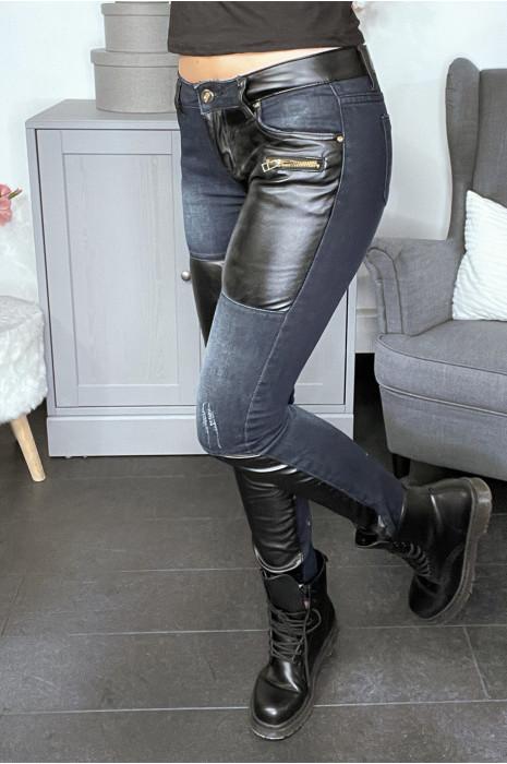 Jean tendance à pièces superposées en jean et simili