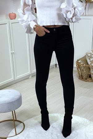 Jeans slim noir matière chino