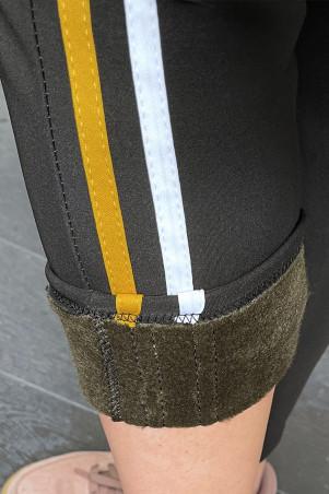 Zwarte fleece gevoerde joggingbroek met strepen