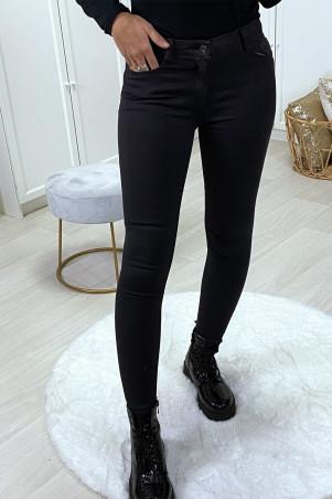 Jeans slim noir delavé avec poches