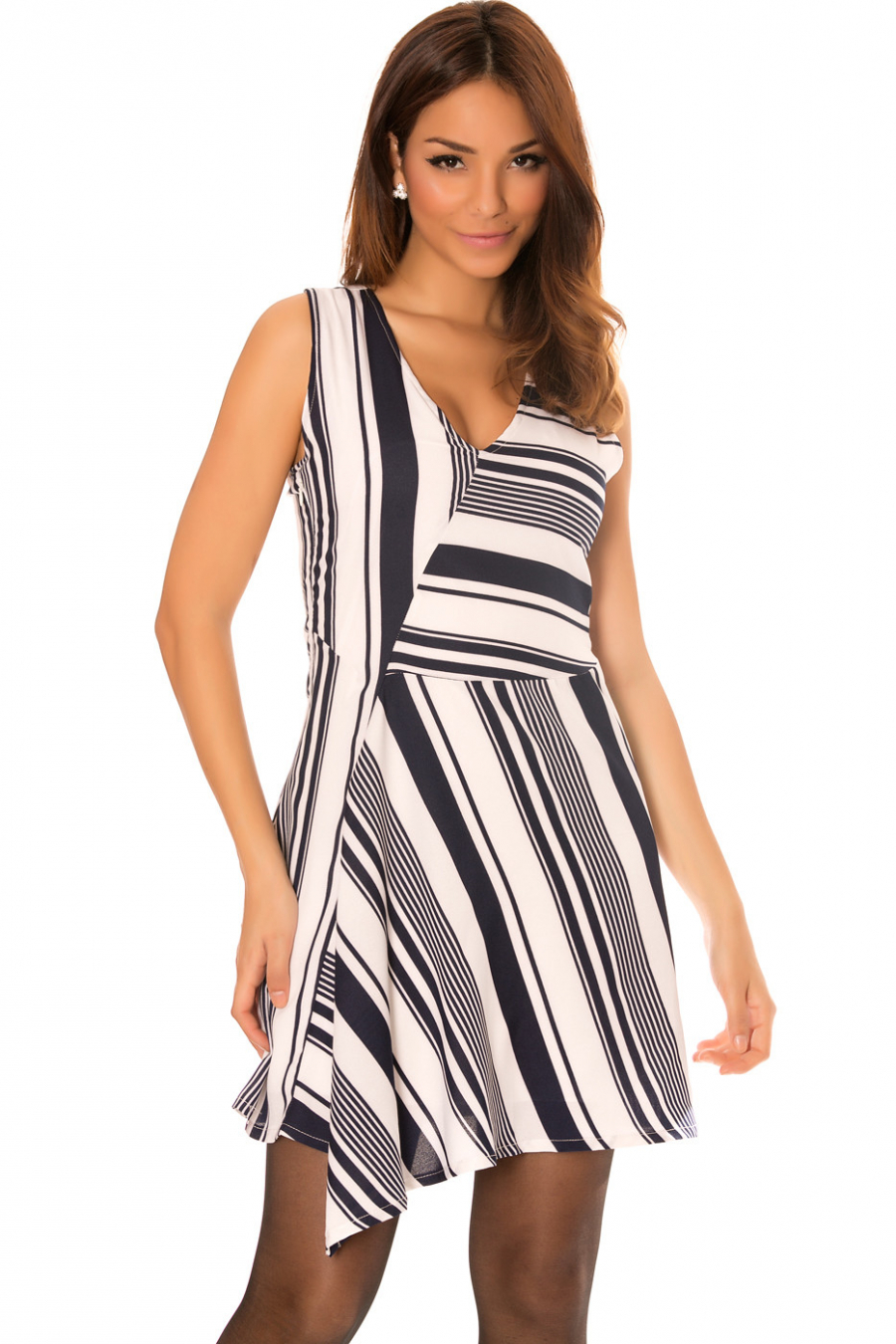 Asymmetric dress in navy and white stripes with V-neck. F5522