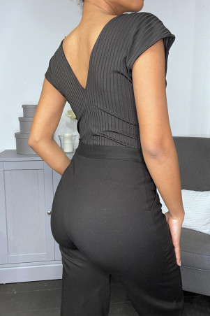 Black ribbed neckline bodysuit