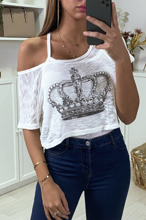 Teeshirt debardeur 2 en 1 blanc motif couronne