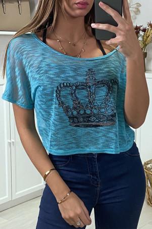 Teeshirt debardeur 2 en 1 Fuchsia/noir motif couronne