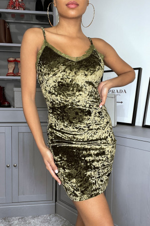 Khaki velvet bodycon dress with lace detail