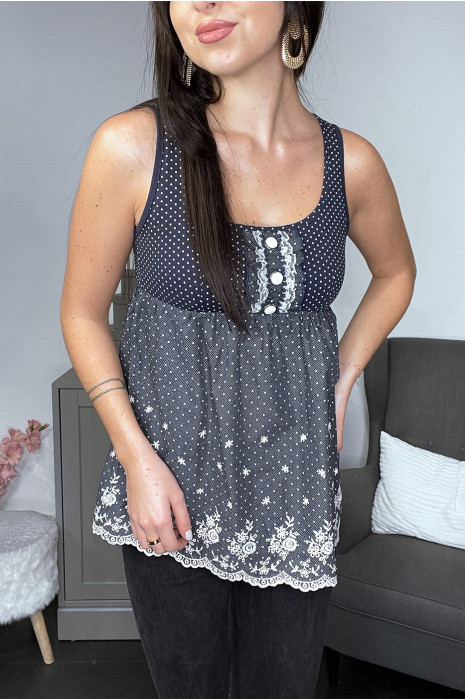 Navy tank top with white polka dots and lace patterns