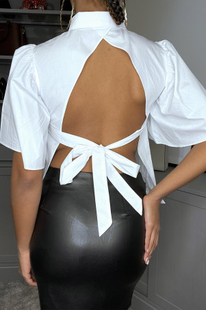 Open back shirt to tie