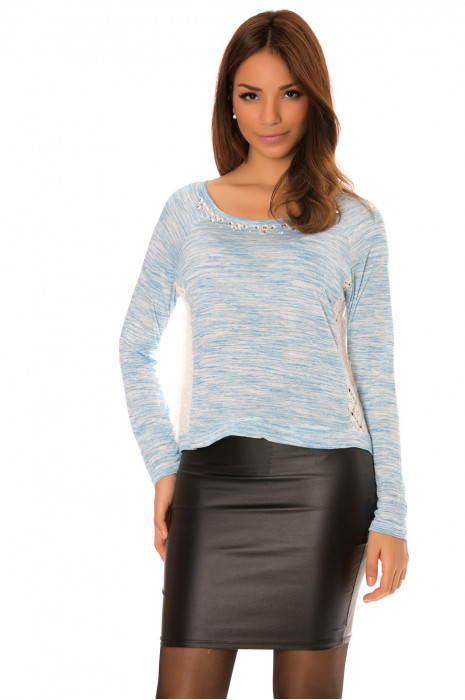 Blue long-sleeved top with round neck adorned with rhinestones and lace on the back. 699