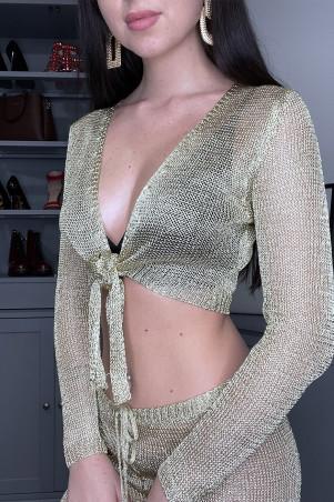 Goudkleurig opengewerkte mesh crop top cardigan