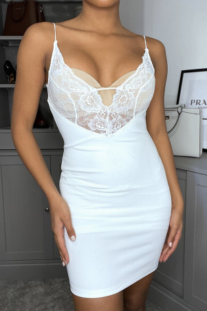 Evening dress with plunging lace neckline