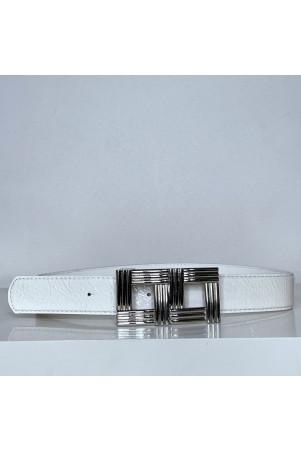 Ceinture blanche avec boucle rectangle argenté