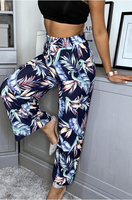 Pantalon fluide à imprimé tropical bleu