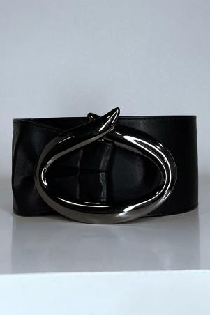 Grosse ceinture noire avec boucle ovale