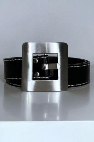 Ceinture noir couture blanche avec boucle carré en métale