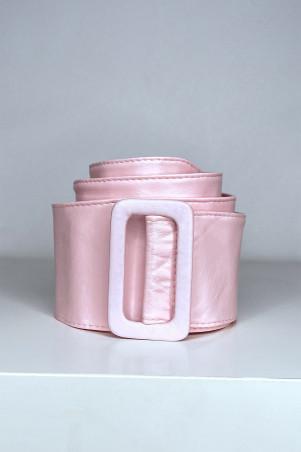 Grosse ceinture rose en simili avec boucle rectangle
