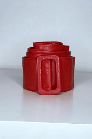 Grosse ceinture rouge en simili avec boucle rectangle