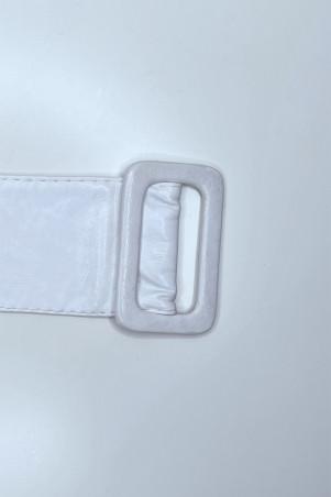 Grosse ceinture blanche en simili avec boucle rectangle