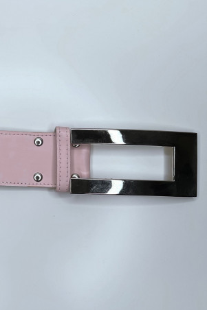 Pink belt with silver buckle