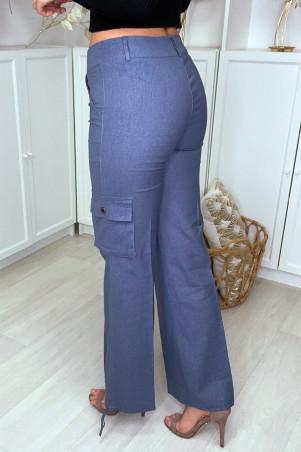 Pantalon cargo bleu facon lin avec poches