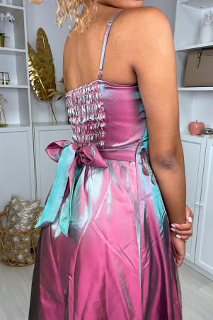 Iridescent parm cocktail dress with flowers and tulles