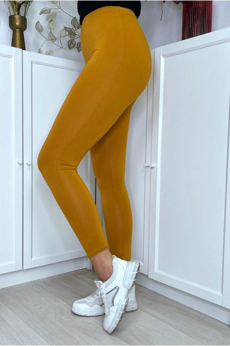 Leggings uni basique couleur moutarde