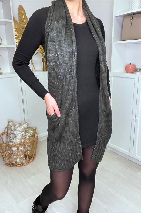 Long brown mesh cardigan, sleeveless, open back and pockets. PU + 282