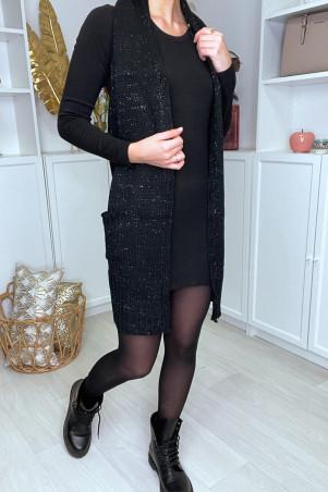 Gilet long en maille noir, sans manches, dos ouvert et poches