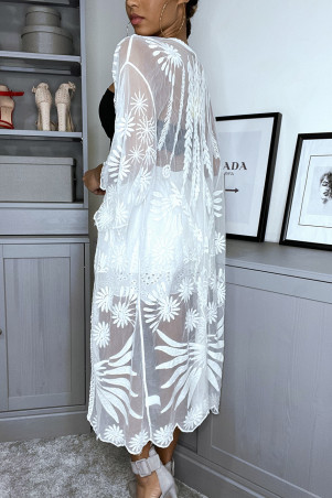Long white cardigan in embroidered tulle