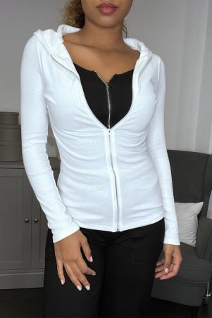 Gilet sweat blanc à doublure intégré blanc zip