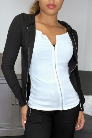 Gilet sweat noir à doublure intégré blanc zip