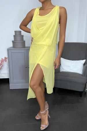 Robe jaune en voilage à doublure