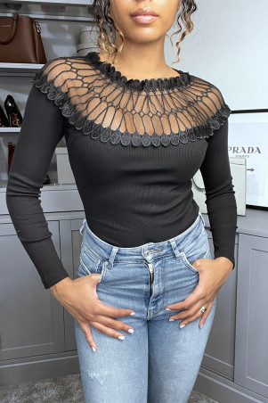 Black ribbed knit top with lace bust