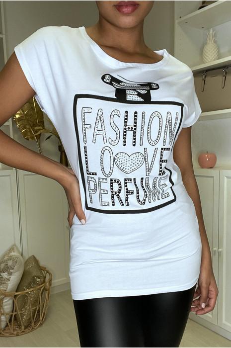 T-shirt blanc à inscriptions et strass