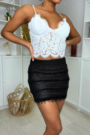 Black braided faux leather mini skirt