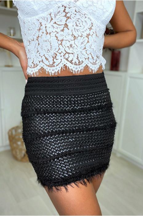 Mini jupe noir tréssé en simili