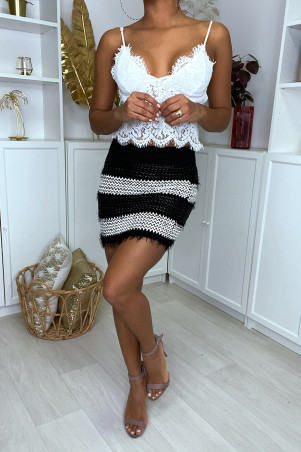 Black and white braided faux leather mini skirt