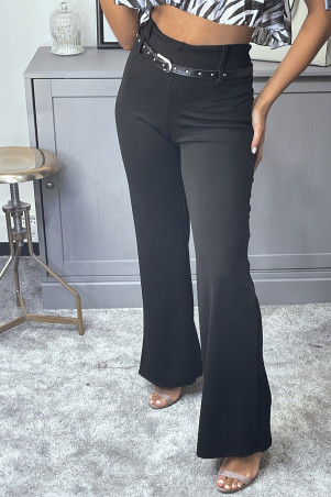 Black straight cut trousers with belt
