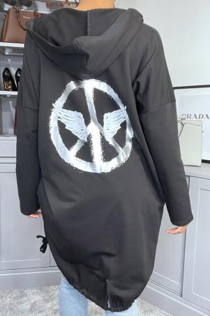 Gilet noir à capuche et poches en coton gratté avec dessin au dos