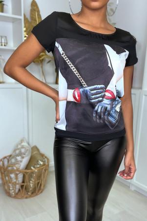 Teeshirt noir asymetrique satiné a logo fashion