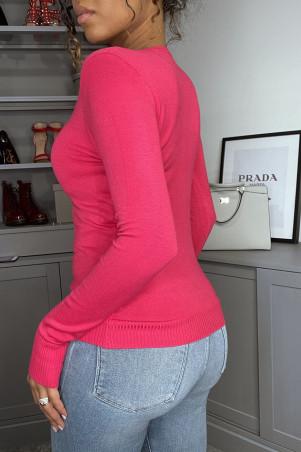 Fuchsia sweater met knoopjes bij de kraag van zeer rekbaar en zeer zacht gebreid mesh