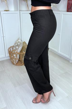 Pantalon cargo noir facon lin avec poches
