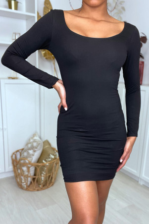 Very stretchy black bodycon dress with neckline