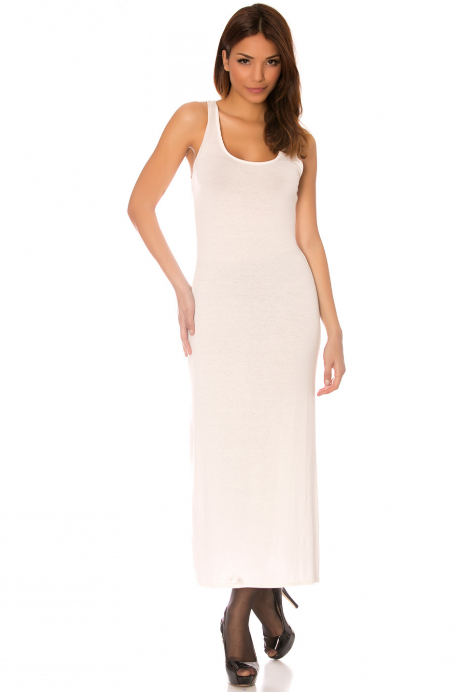 Longue robe débardeur Blanc fendu sur le côté, l'incontournable classique de l'été.