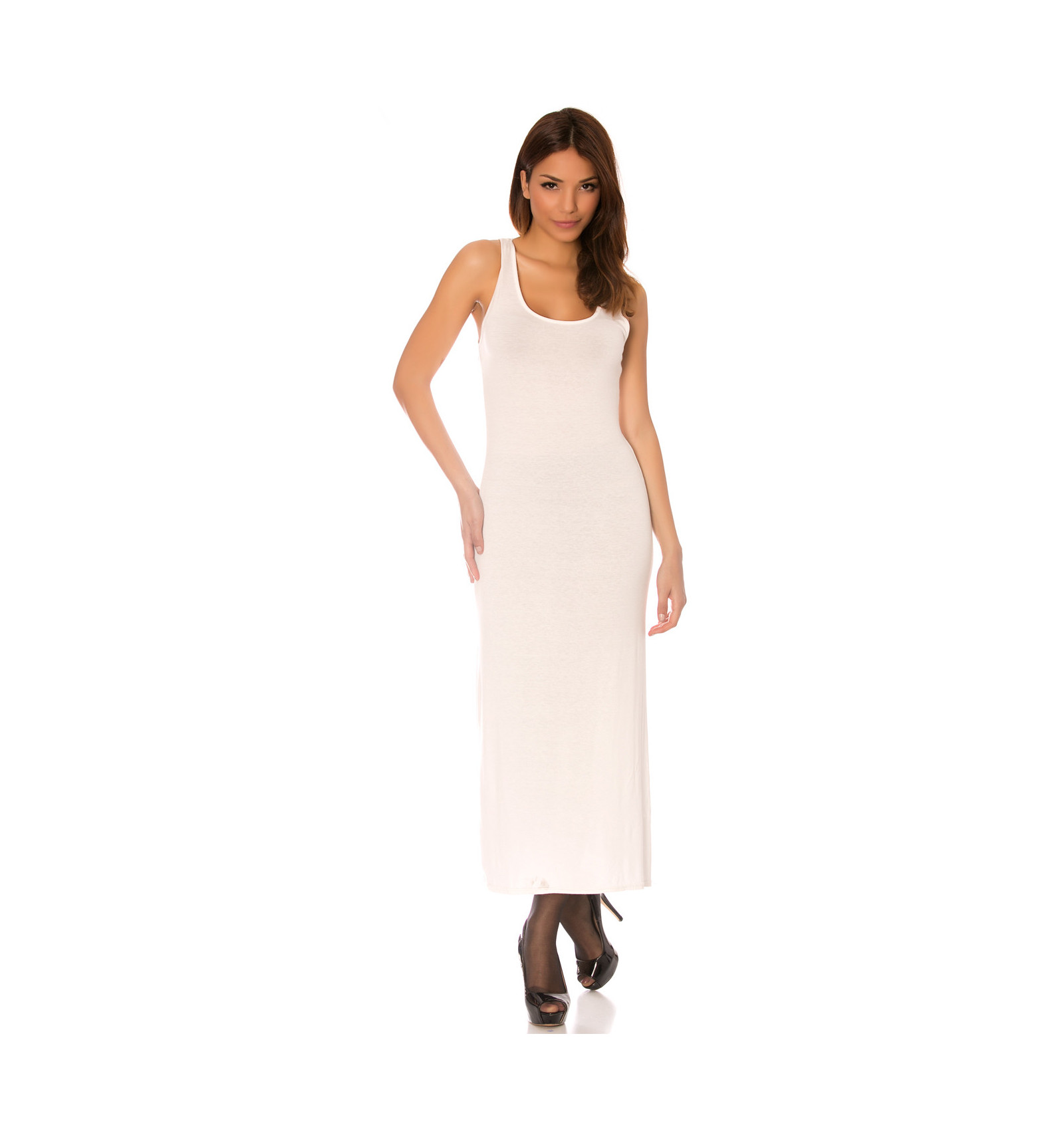 Longue Robe Debardeur Blanc Fendu Sur Le Cote L Incontournable Classique De L Ete