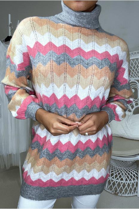 Long pull col roulé over size indigo avec motif zigzag
