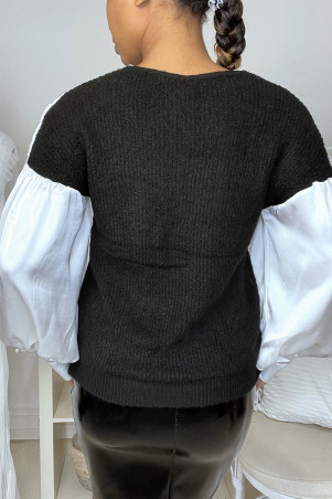 Black satin sweater gathered at the bust and sleeves