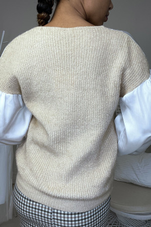 Pull beige satiné et froncé au buste et aux manches