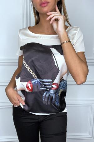 Asymmetric black satin t-shirt with fashion logo